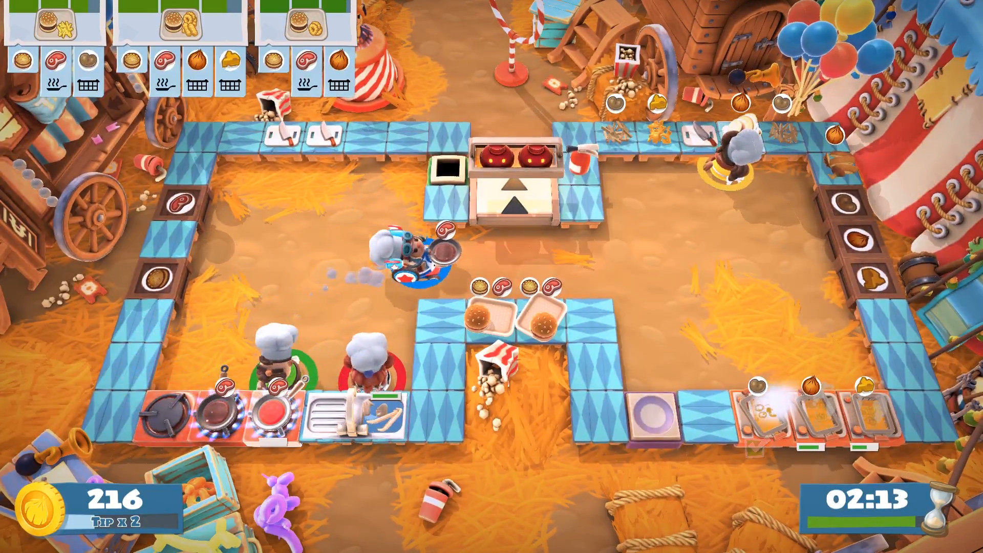 Overcooked 2's Carnival of Chaos DLC adds new levels, cannons, and combo meals | EGM